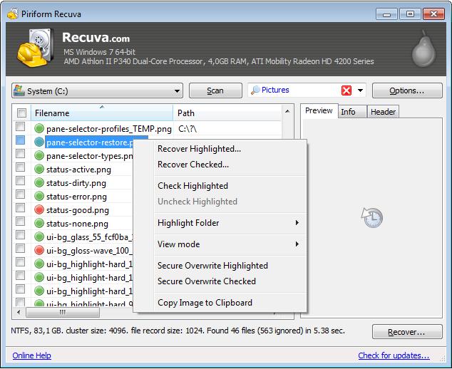 Retrieve deleted files